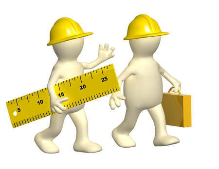 explained: Two builders with ruler. Isolated on white background Stock Photo
