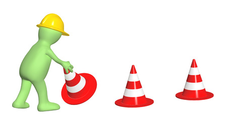 3d puppet with emergency cones. Isolated on white background photo
