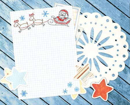 Letter to Santa Claus. Horizontal background photo