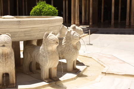 Famous lion fountain in Alhambra Castle, Granada, Spain