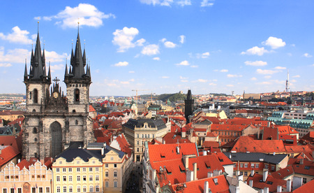 tynsky church: Old Town Square, Tyn Church, Prague Stock Photo