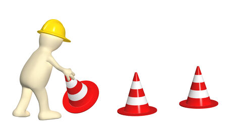 3d puppet with emergency cones. Isolated on white background