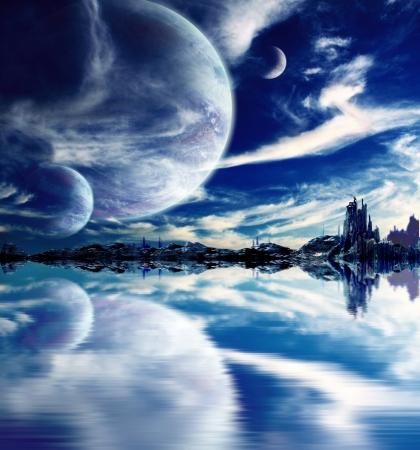 コラージュ - ファンタジーの惑星での風景 写真素材