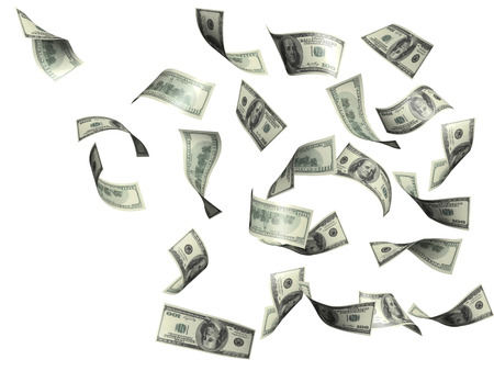 flying money: Symbol of wealth and success -  rain from dollars. Isolated over white Stock Photo