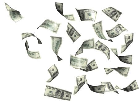 Symbool van rijkdom en succes - regen van dollars. Geïsoleerd over wit