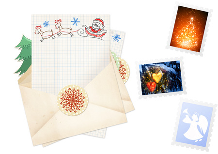 Letter to Santa Claus. Collection of elements for Christmas design photo