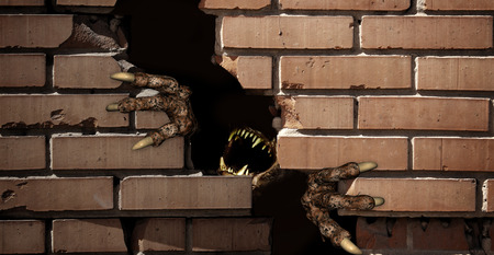 monster hand: Dark series - paws of monster , breaking a brick wall