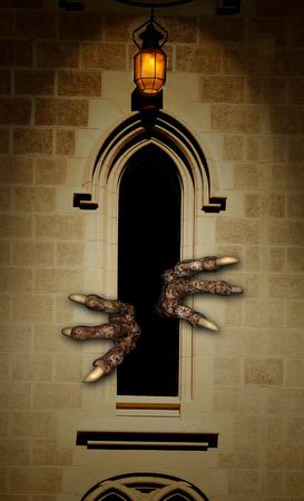 gothic window: Dark series - paws of monster in  window