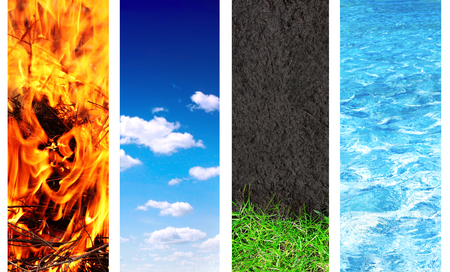Collection of banner with nature elements - water; ground; air and fire photo