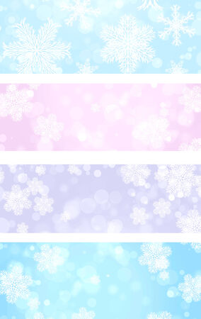 lit collection: Collection of Christmas banners with snowflakes