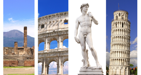 Collection vertical banners with landmarks of Italy photo