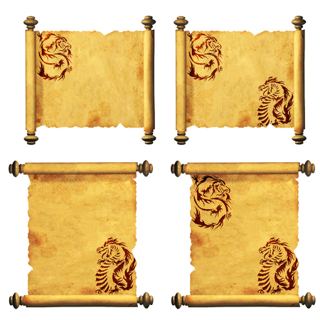 parchment scroll: Set of ancient parchments with the image of dragons  Isolated on white background Stock Photo
