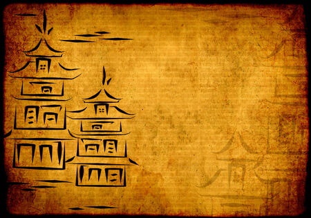 rice paper: Grunge eastern background with ancient Japanese houses