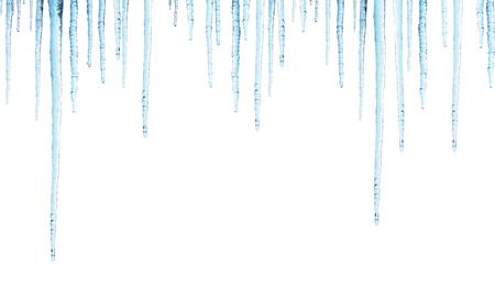 Naadloze grens met ijspegels Geïsoleerd op witte achtergrond