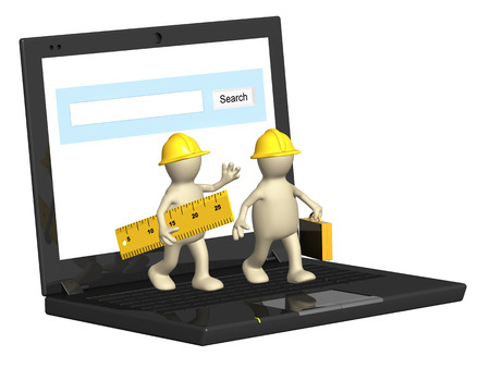 warehouseman: Two builders and laptop. Isolated on white background