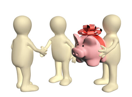 rewarding: Three puppets with piggy bank. Isolated on white background