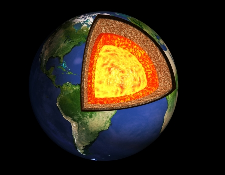 lave: Structure of the Earth. Model isolated on black background Stock Photo