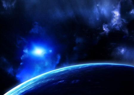Space flare. A beautiful space scene with planets and nebula Stock Photo - 25491549