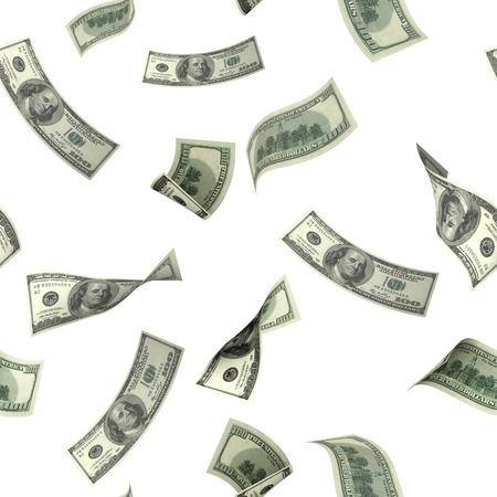 비행 달러 지폐와 함께 완벽 한 배경입니다. 화이트 이상 격리 스톡 콘텐츠