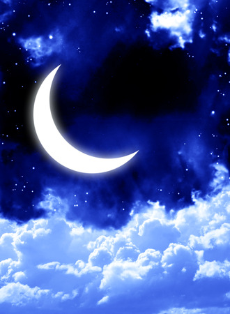 Night fairy tale - bright moon in the night sky Stock Photo