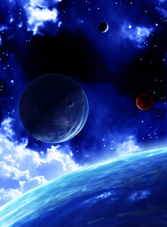 interplanetary: A beautiful space scene with planets and nebula