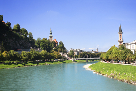View of the city Salzburg and Salzach river, Austria photo