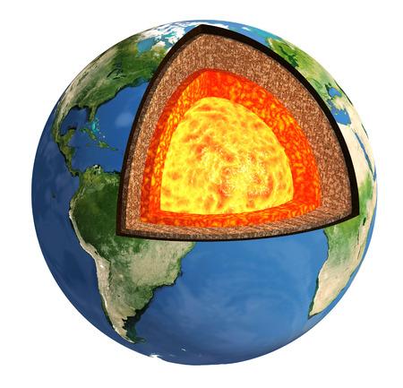 Structuur van de Aarde. Model op een witte achtergrond
