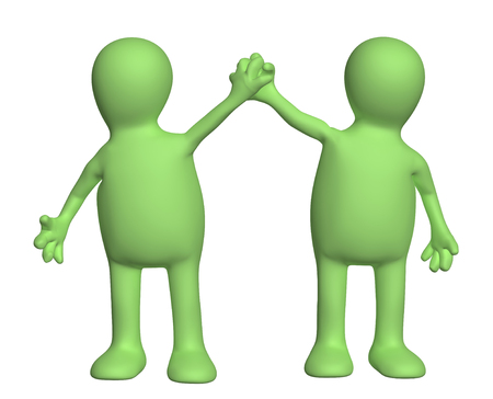 jubilate: Handshake of two puppets. Isolated on white background Stock Photo