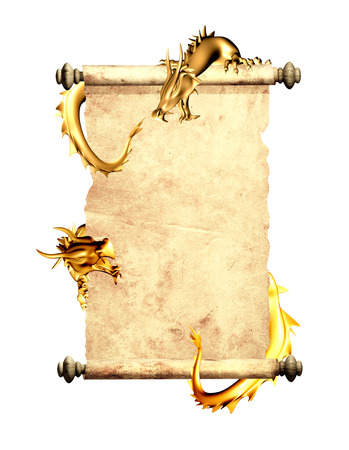 Dragons and scroll of old parchment. Object isolated on white background photo