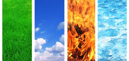 cuatro elementos: Colección de banner con elementos de la naturaleza - agua; terreno; aire y fuego