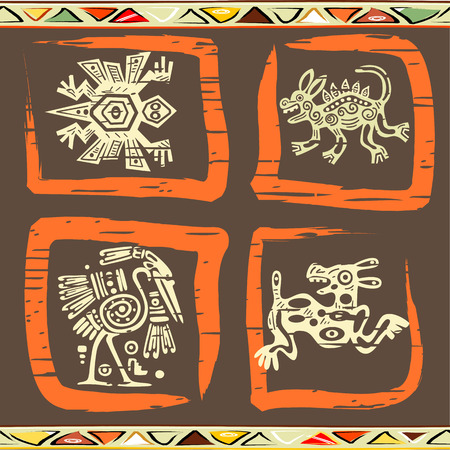 latin american ethnicity: Grunge background with American Indian traditional patterns