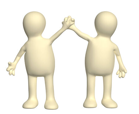 prevail: Handshake of two puppets. Isolated on white background Stock Photo