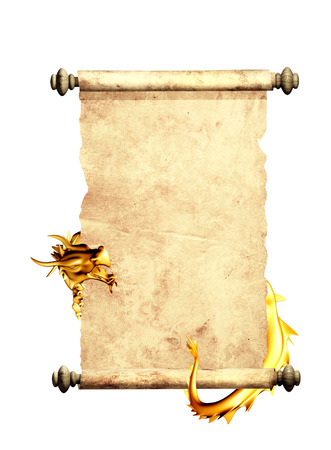 Dragon and scroll of old parchment. Object isolated on white background photo