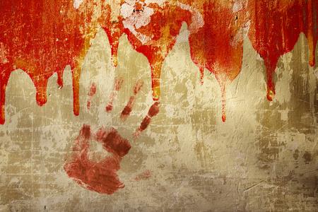 Halloween background. Blood on stucco wall photo
