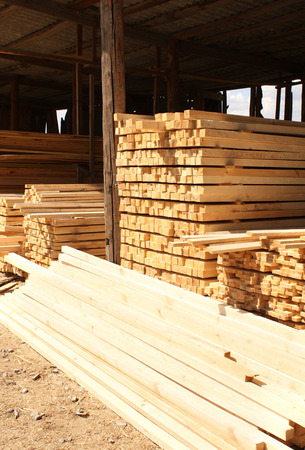 lumber industry: Wooden boards in a warehouse of building materials