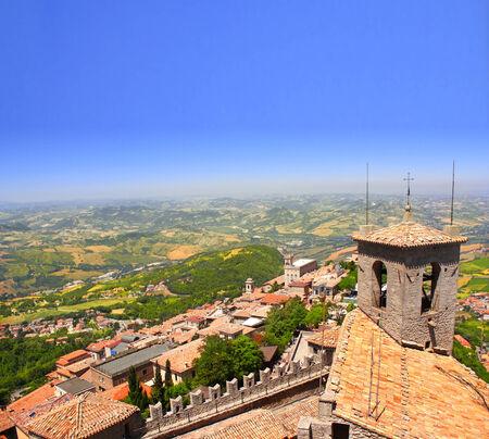 san marino: View on Italy from Monte Titano, San Marino Stock Photo