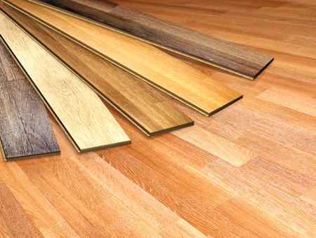 異なる色のオーク材の床を新しい