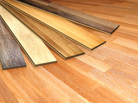 hardwood flooring: New oak parquet of different colors Stock Photo