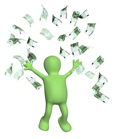 marioneta: Marioneta feliz y un Los billetes de euro. Aislado en el fondo blanco