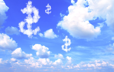 flying money: Dollar symbol from clouds on blue sky