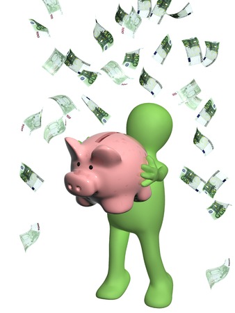 rich man: Happy puppet with piggy bank and banknotes of euro. Isolated on white background