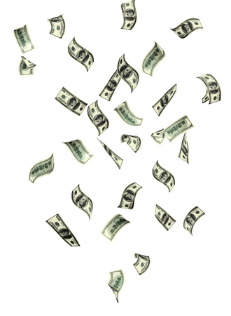 money rain: Symbol of wealth and success - rain from banknotes of dollars. Isolated on white background Stock Photo