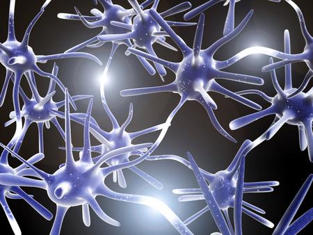 Impulses of neurons. 3d Stock Photo
