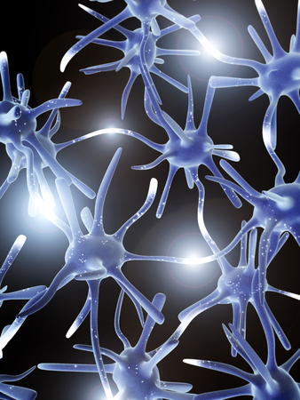 ganglion: Impulses of neurons. 3d Stock Photo