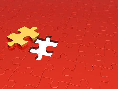 perplexing: Rompecabezas de color rojo y amarillo. Aislados en blanco