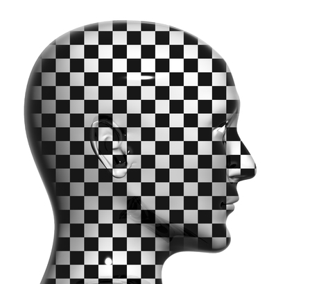 Human head with checkered texture. Isolated on white background photo