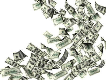 dinero volando: Flying billetes de dólares. Aislado
