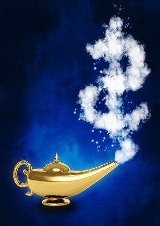 lampada magica: Lampada d'oro magica e il simbolo del dollaro