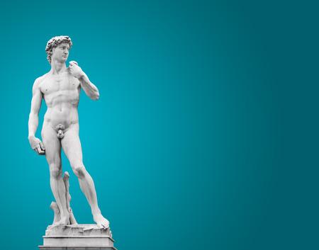 michelangelo: Michelangelos David. On blue  Stock Photo