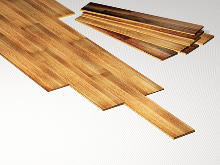 substrate: New oak parquet on soundproof substrate. 3d